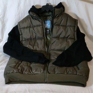 Seventy 7even Olive/Black Hooded Zip-Front Jacket